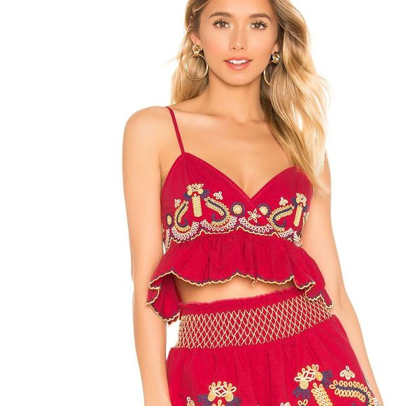 Tularosa Florence Embroidered Crop Cami Top Red